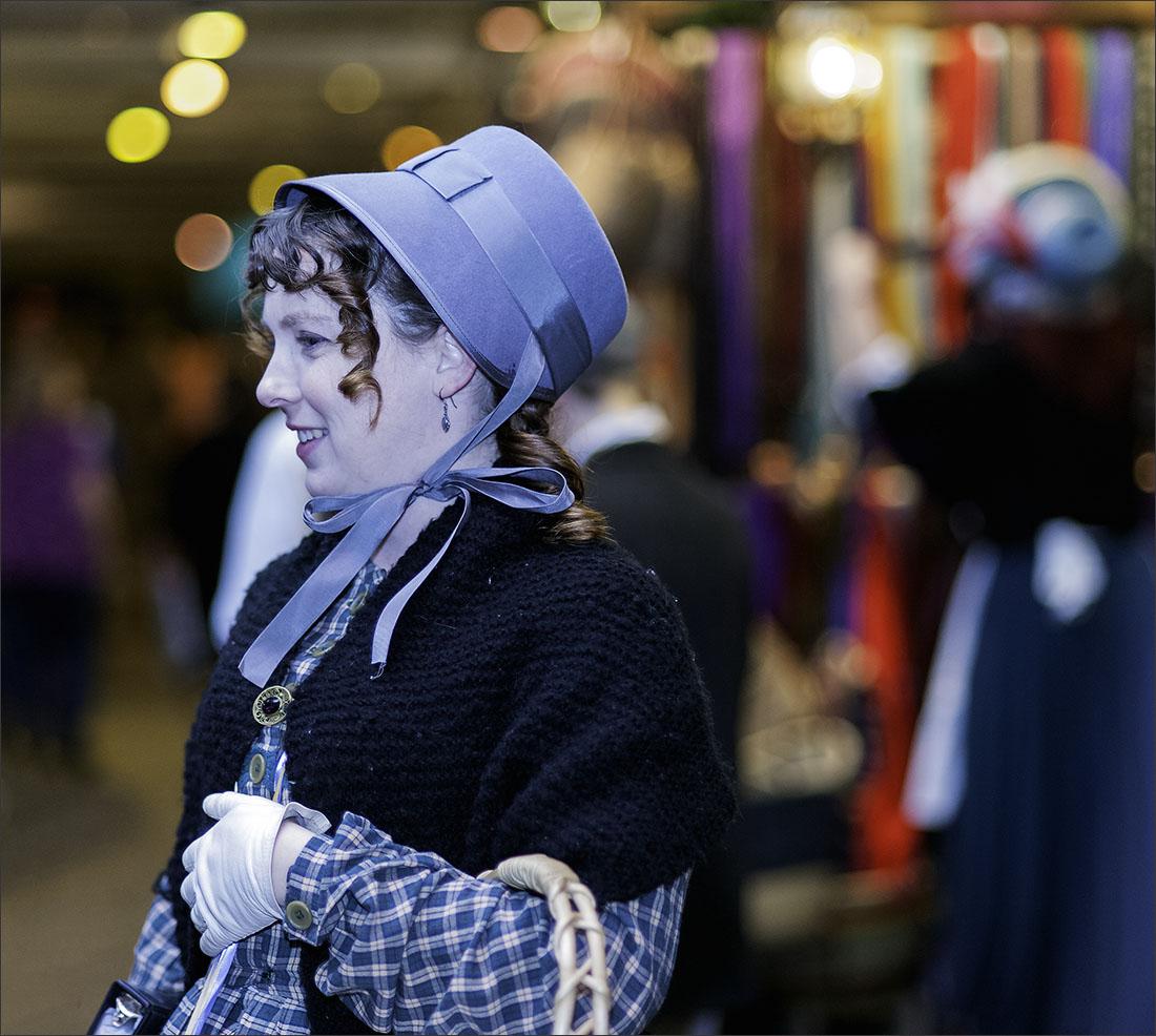Woman in Blue Bonnet
