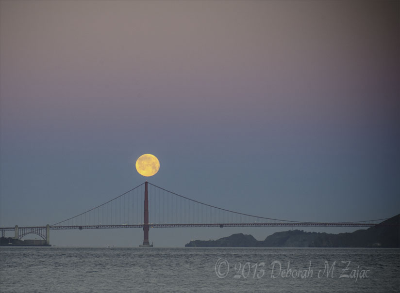 February's Full Moon over the South Tower of the Golden Gate Bri