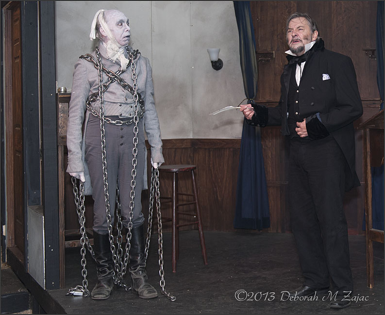 The Ghost of Jacob Marley comes to visit Scrooge