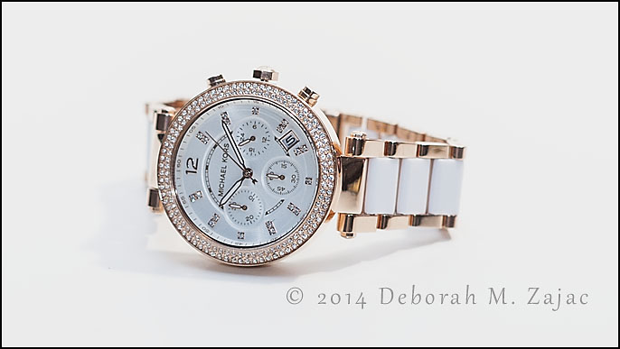 """Parker"" White and Rose Gold watch by Michael Kors"