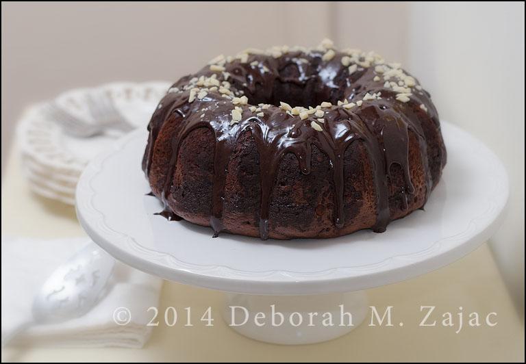 Chocolate chocolate chip Bundt Cake-Glazed