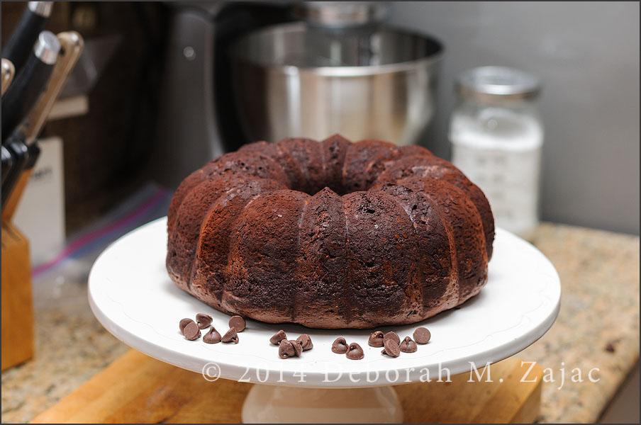 Chocolate chocolate chip Bundt Cake-unglazed