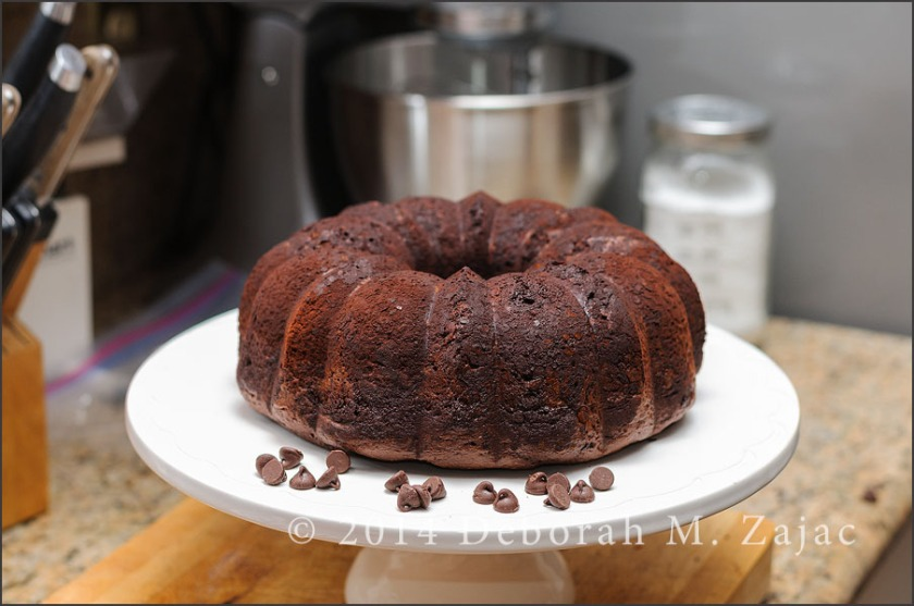 Chocolate chocolate chip Bundt Cake-unglazed