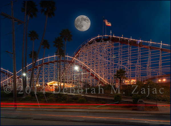 August SuperMoon over the Giant Dipper Santa Cruz CA