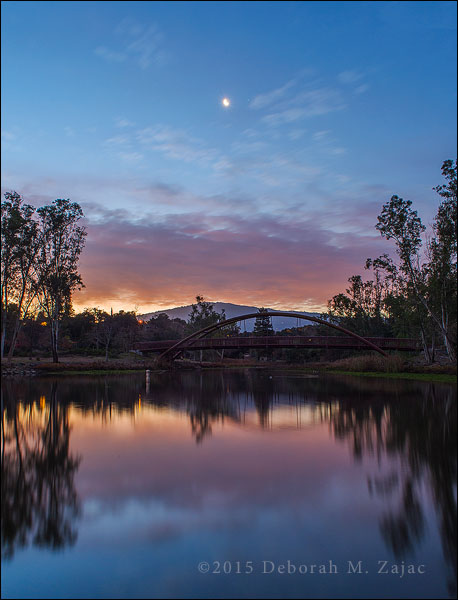 Waning Crescent Moon with Saturn over Vason Lake Los Gatos CA