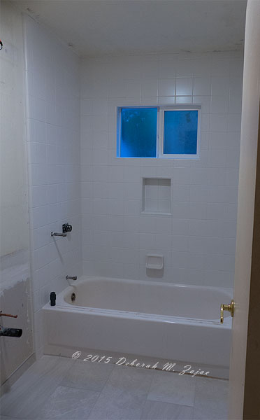 Day 7 Hall Bath Grout tile set vanity and wall trim