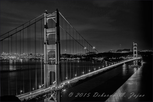 Golden Gate Bridge after Dark from Battery Spenser