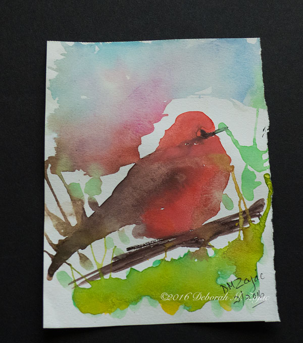 Vermilion Flycatcher in Watercolor