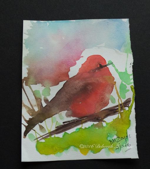 Vermilion Flycatcher in Watercolor