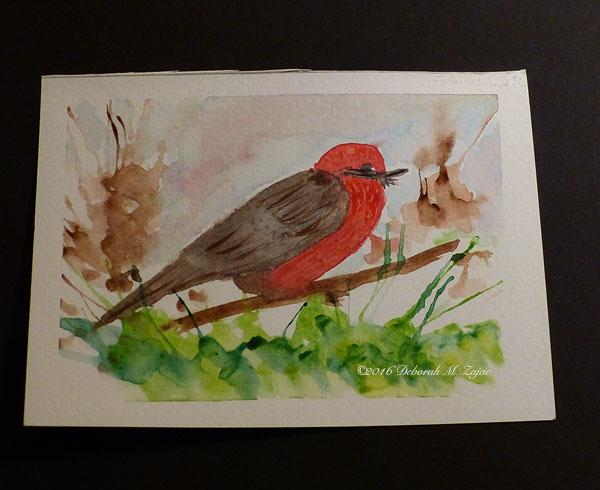 Vermilion Flycatcher Male in Watercolor