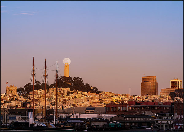 Moon and Coit Tower