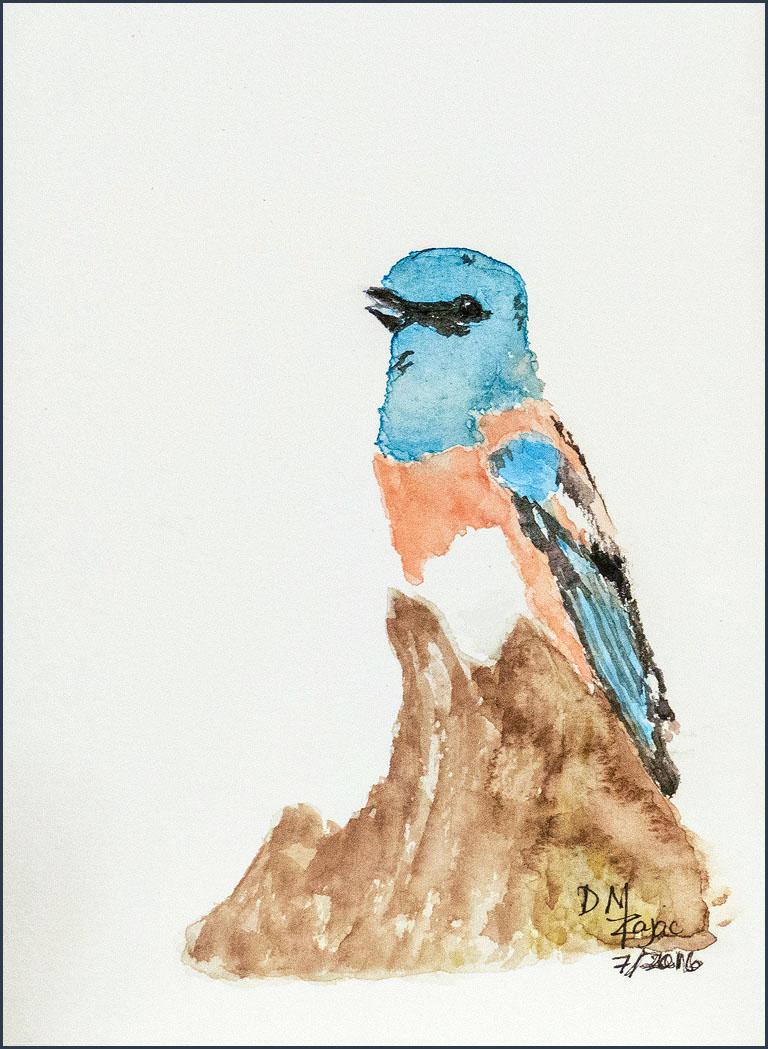 Lazuli Bunting in Watercolor