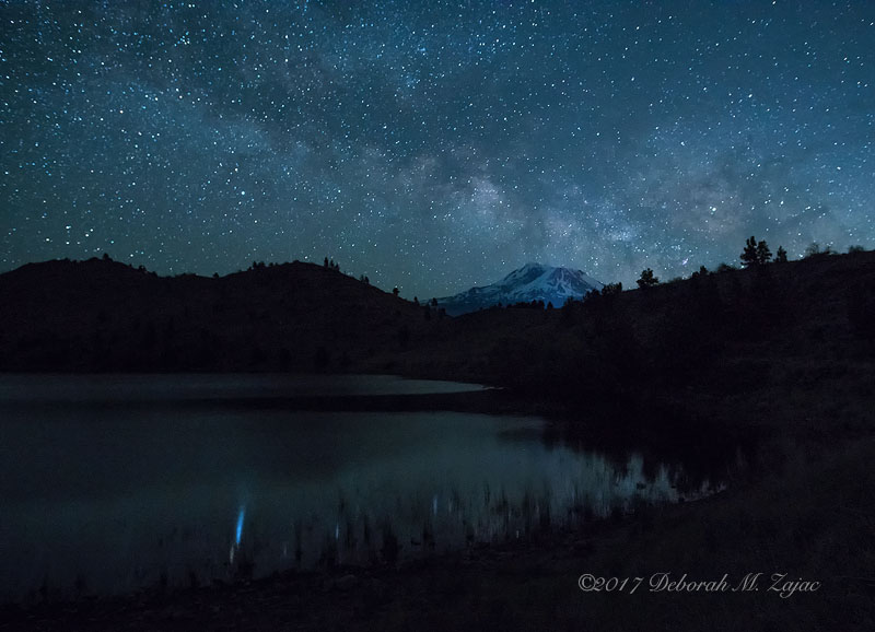 Milky Way over Mt. Shasta and Mt Shastina