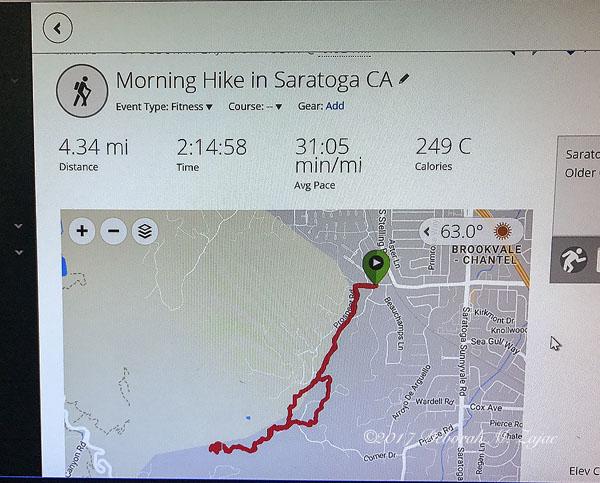 Morning Hike Route Saratoga