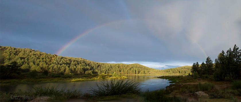 Full Rainbow over Spooner Lake