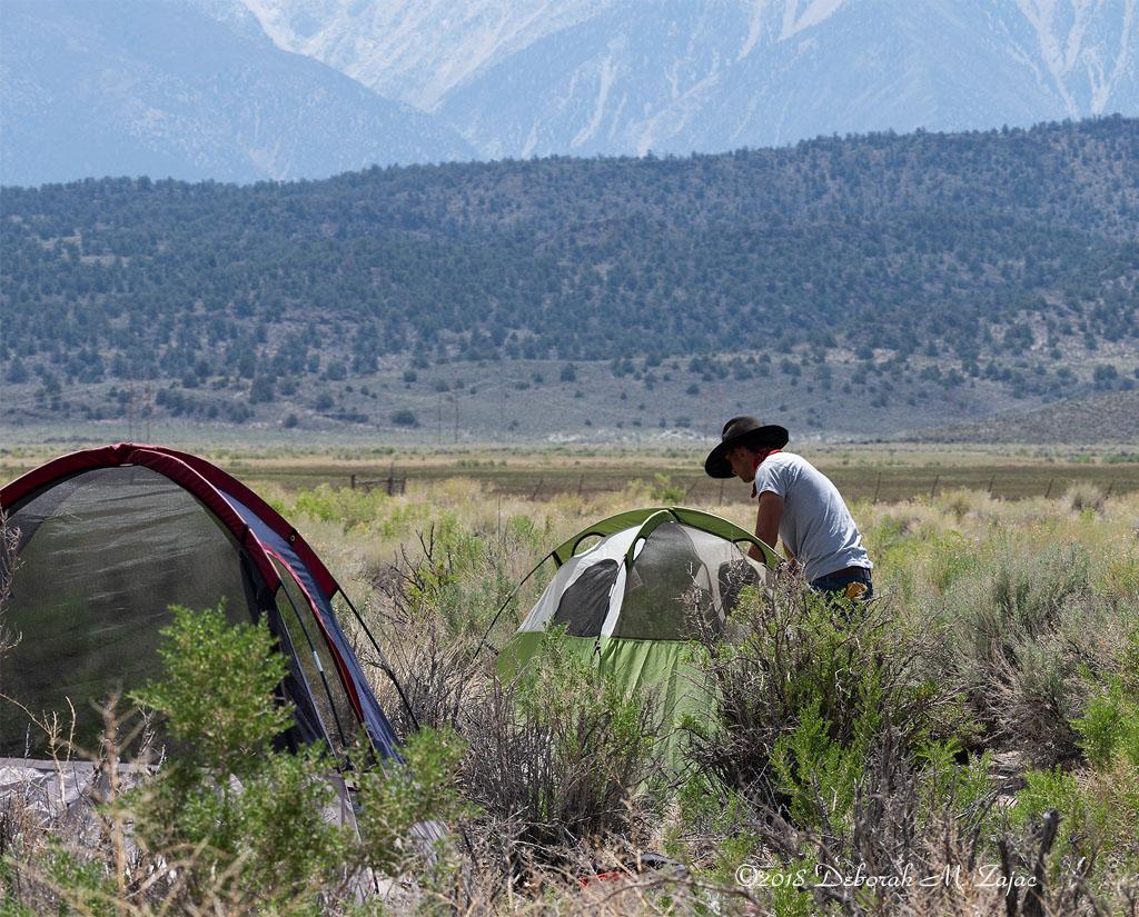 Patrick setting up my tent