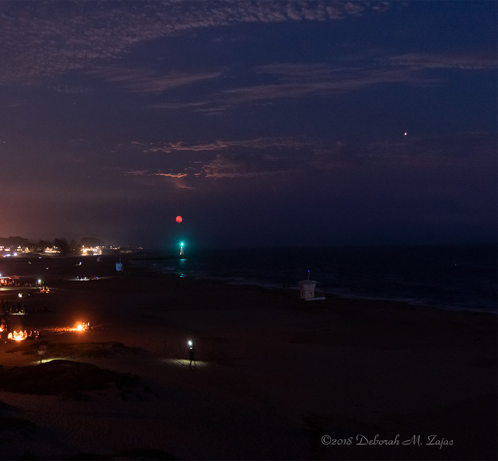 Waxing Gibbous Moon and Mars over Walton Lighthouse