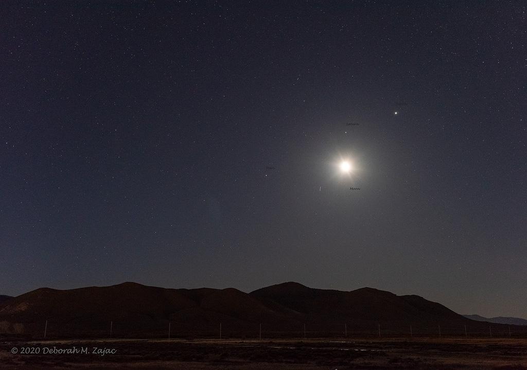 Jupiter Saturn Mars and the Moon Apr 15 2020