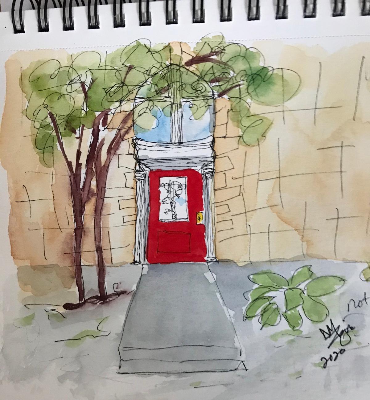 Red Door Carson City watercolor
