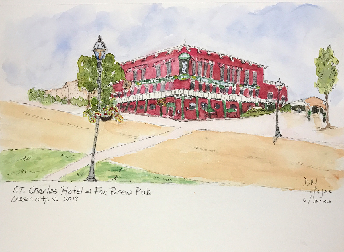 St Charles Hotel and Fox Brew Pub Watercolor