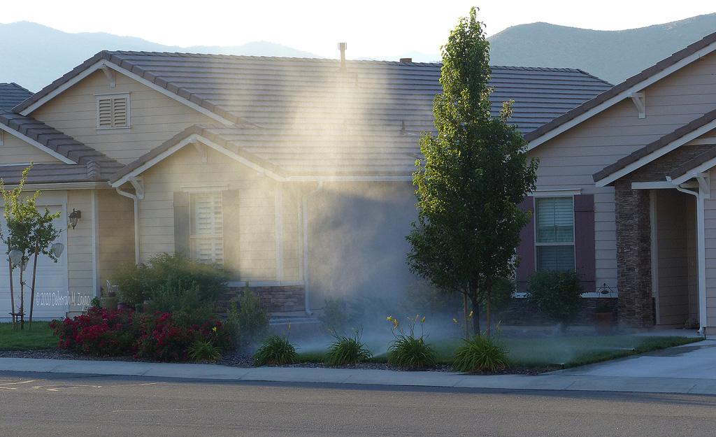 Sunlight on the sprinkler Mist
